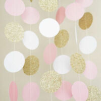Pink White Gold Glitter Circle Polka Dots Paper Garland 2M Banner Party Decor