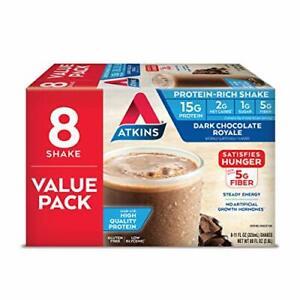 Atkins Gluten Free Protein-Rich Shake Dark Chocolate Royale Keto-Friendly 8 C...