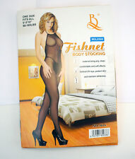 Sexy Black Fishnet Halter Top Bodystocking Diamond Stretchy Sheer Comfortable US