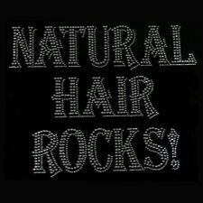 NATURAL HAIR ROCKS Clear Rhinestone Iron on Hotfix