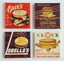 Hamburger FRIDGE MAGNET Set (1.5 x 1.5 inches each) food sign