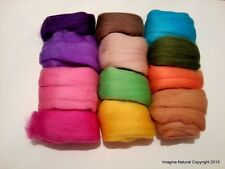 Pack of 12 Multicolour Balls of Merino Roving Wool, Felting, Weaving, Crafting