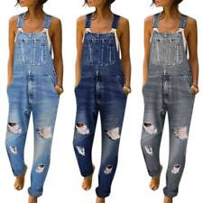 Women Dungarees Overalls Jumpsuit Playsuit Ripped Stretch Romper Bib Pants Jeans