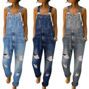 Women Denim Dungarees Jumpsuit Playsuit Ripped Jeans Overalls Bib Frayed Pants