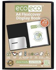 Eco-eco A4 100% riciclato 20 Tasca / 40 vista NERO flexicover display book