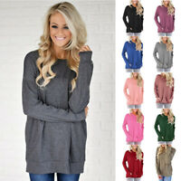 Women Tunic Basic Tops Crew Neck Long Sleeve T Shirt Casual Solid Blouse Loose