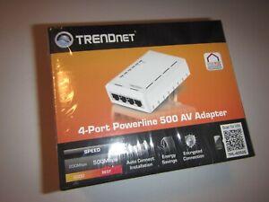 TRENDnet TPL-4052E 4 Port Powerline Network 500 AV Adapter, NEW & SEALED