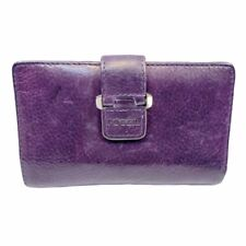 """Fossil Womens Wallet Small Purple Leather Trifold Snap Closure 6"""" x 3.5"""""""