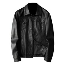 Mens Slim Fit Single Breasted Jacket Motorcycle Outwear Faux Leather Biker New L