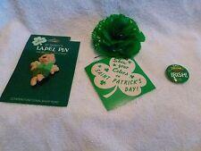 Vintage HALLMARK - St. Paddy's Dancing Bear Lapel Pin + Irish pin & g/carnation