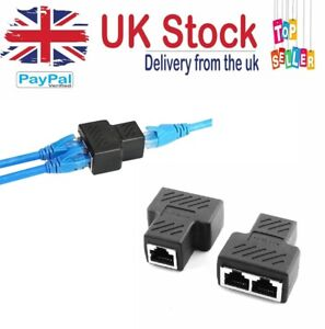 RJ45 SPLITTER ADAPTER LAN NETWORK ETHERNET CABLE 1-2 WAY DUAL CONNECTOR PLUG
