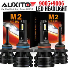 4 PC AUXITO 9005 + 9006 LED Headlight Bulb Kit High Low Beam 24000LM M2 EOA