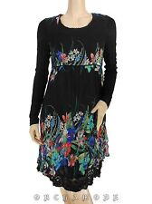 Robe MY DESIGN T 38 M 2 Noir + Floral Dentelle Manche Printemps NEUF Dress Kleid