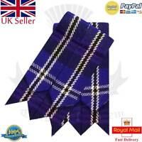 Scottish Kilt Hose Sock Flashes Various Tartan Garter Pointed Acrylic Wool Flash
