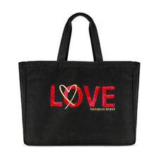 Victoria's Secret Love Sequin Heart Weekender Bolsón Bolso Negro/Oro/Rojo