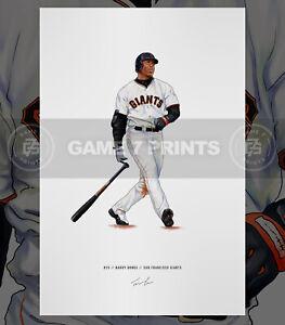 Barry Bonds San Francisco Giants Baseball Illustrated Print Poster Art
