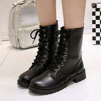 Women's Army Combat Short Military Punk Flat Lace-up Ankle Boots Shoes Occident