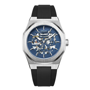 Men's Edison Roadster Automatic Watch Silver Colour Hexagon Case Blue Dial