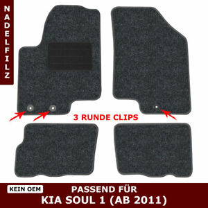 Automatten für Kia Soul AM (ab 2011) - Anthrazit Nadelfilz 4tlg, 3 kia clips