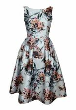 Dress Long White Large Floral Retro Rockabilly Size 10
