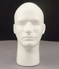 """Male Mannequin Styrofoam 12"""" Head Bust With Face - Display Wigs, Glasses, & Hats"""
