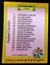 Cricket SCANLENS, 1986-87 CLASHES FOR THE ASHES  ENGLAND CHECK LIST CARD # 47