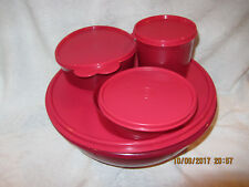 4 Piece Tupperware Large Salad Bowl and 3 small storage containers - All Red