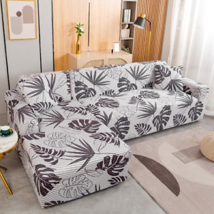 Printed Elastic Sofa Cover Spandex Corner Couch Chair Protector L Shape Need 2Pc