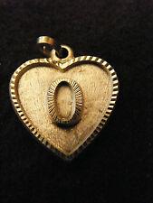 Colgante Corazón Medallón en PLATA Chapado Letra O 2 cm