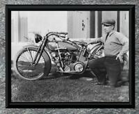 Classic... Man with 1920's Reading Standard Motorcycle. Antique 5x7 Photo Print
