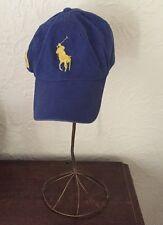 1116c5b17ed POLO Ralph Lauren Big Logo Pony Cap Adjustable Yellow Blue Hat Baseball