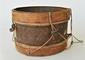 19th C antique 1800s TIN repousse WOOD TOY DRUM child leather primitive aafa