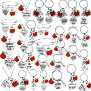 Apple Keyring Charms Pendants Heart Keychain Thank You  Gift Teacher Key Rings