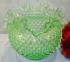 Vintage Green Glass Hobnail Large Ruffled Bowl 6 1/2""