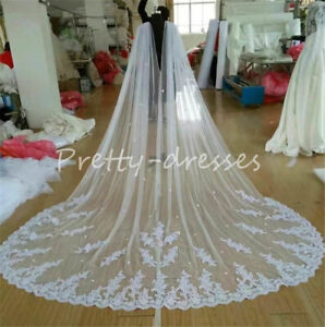 White Ivory Cathedral Bridal Cape Cloak Lace Edge Wedding Veils Long Accessories