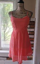 Socialite Coral Juniors Mini Dress Sundress Cutwork Sheer Sides Size XS