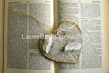 Wooden Hanging Heart Genuine Vintage dictionary  Pages & Butterflies