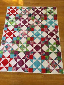 Handmade Batik Star Red, Purple, Pink, Lap Quilt Size 53X 66