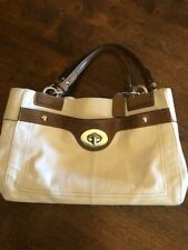 Coach Cream Leather Penelope Carryall Purse Satchel with snakeskin accents