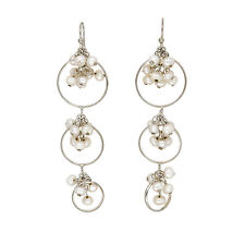 NEW OLD STOCK STERLING SILVER DROP DOWN CULTURED fRESH WATER PEARL EARRINGS