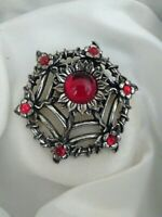 Vintage Signed Miracle Jewellery Ruby Glass Flower Web Silver Tone Brooch Pin