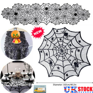 Halloween Round Spider Web Table Runner Lace Tablecloth Cobweb Cover Party Decor
