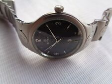 RARE BLACK DIAL SS TITAN DATE @ 6 QUARTZ MENS WRISTWATCH