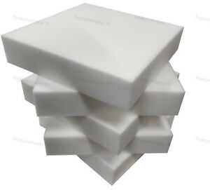 """UPHOLSTERY FOAM SHEETS - Sample - 1 Piece - White + Blue + Recon 6"""" x 4"""" x 2"""""""