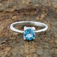 Natural Blue Topaz Ring - 925 Sterling Silver Handmade Silver Ring Size 8