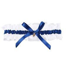 Giarrettiere fiocco raso da Sposa cerimonia nuziale Fiori Blu reale O7P4
