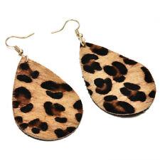 Fashion Women Leopard Leather Teardrop Earrings Bohemia Dangle Drop Jewelry Gift