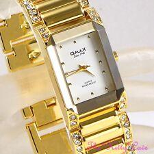 OMAX Gold PL Bevelled Mineral Seiko Movt Dress Watch w/ Swarovski Crystal JES612