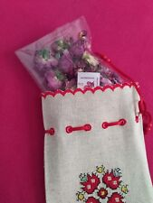 Lema Embroidered linen bag fill with 10gr Natural Bulgarian Dry Rose Petals Buds