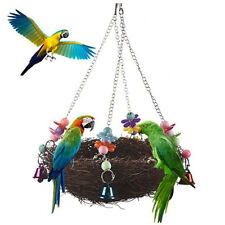 Bird Parrot Hanging Hammock Cage Toy Happy Hut Bed Swing Cave House